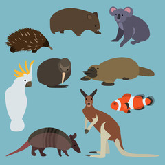Flat design animals of Australia
