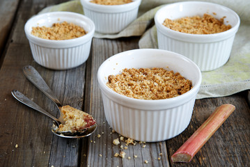 Crumble cake with rhubarb in a baking dish