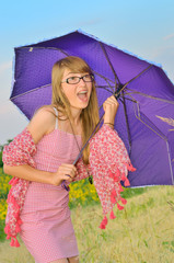 surprised girl with an umbrella