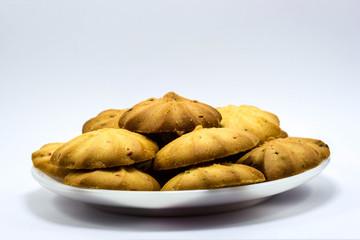 raisin cookies on white background