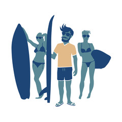 Retro surfers illustration with surfboards