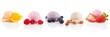 Leinwandbild Motiv Ice cream and sorbet scoops variety isolated on white background