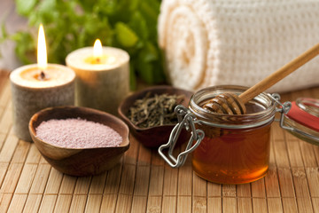 Spa scene with bath ingredients