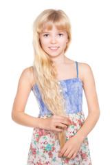 Portrait of nice little blond girl