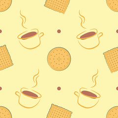 Seamless pattern with delicious cookies and cups of coffee