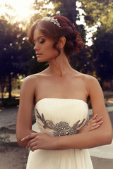 portrait of beautiful bride in elegant wedding dress