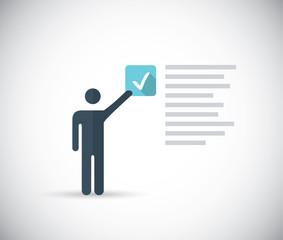 Illustration man taking internet survey for money or checklist