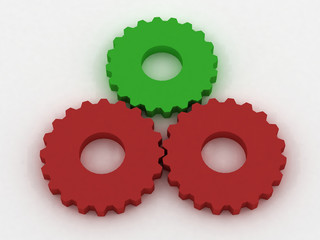 Red and green gears