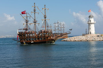 sea journey on vintage sailships  in Alanya, Turkey.