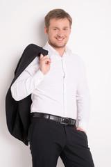 Fashion young man in white shirt.