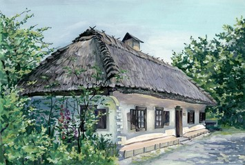 PAINTING - VILLAGE HOUSE IN UKRAINE_2