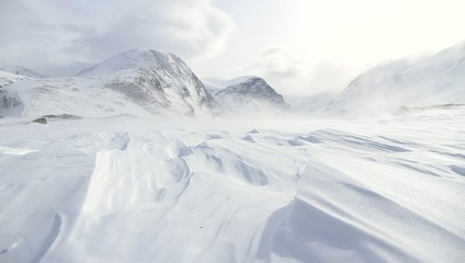 Snow and wind in the arctic mountains