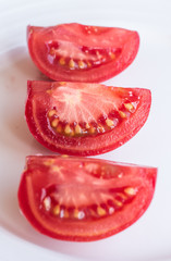 tomato slices on a white background, isolated