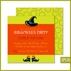 Halloween Invitation Orange Green