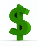 Green Dollar sign isolated