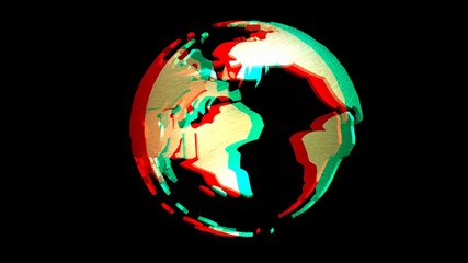Digital animation of a rotating Earth Globe, stereoscopic