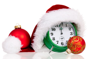 Alarm clock with santa hat