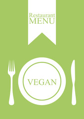 Menu restaurant vegan