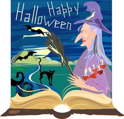 Halloween postcard with witch, amanita and old book