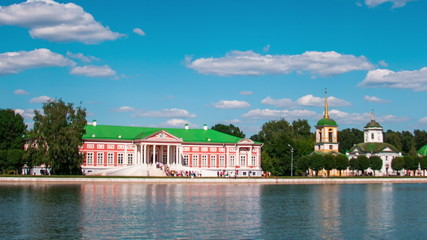 Vacationers go boating about Kuskovo palace