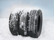 canvas print picture - Tyres in the snow
