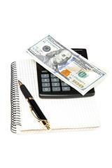 Money, calculator, notepad and pen.