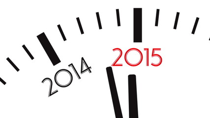 Clock countdown from year 2014 to 2015