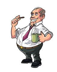Cartoon office worker having a coffee break