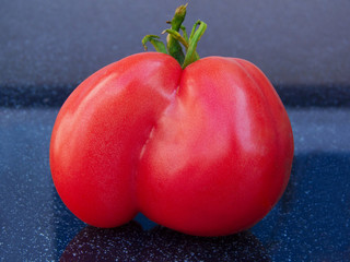 Beautiful  red tomato on black background.