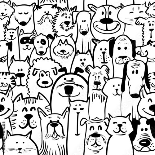 fototapeta na ścianę dogs and cats seamless