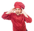 Stressed chef hands on head