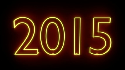 3d rendered New Year sign 2015 as neon lamp