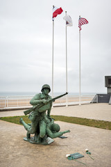 Soldier statue memorial. Omaha beach, France.