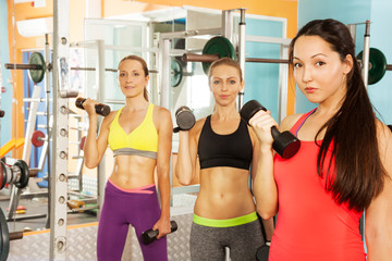 Three young women in the fitness club