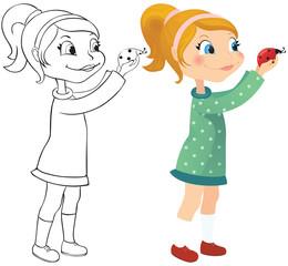 Girl and ladybug
