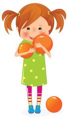 Little girl with orange ball