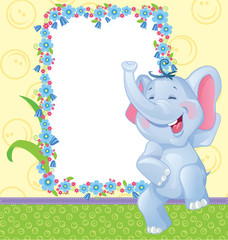 Children frame with elephant
