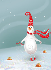Card for congratulations.New year. Christmas. Jolly Snowman.