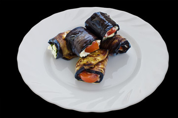 Rolls from eggplant with tomato