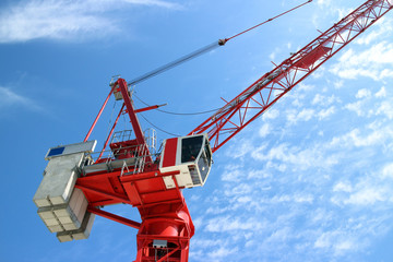 Red Crane doing Construction work