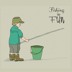 cute boy fishing