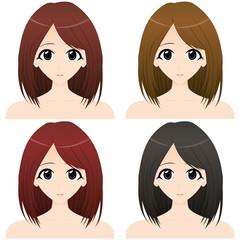 女性上半身・正面イラスト 髪の色違い4カット