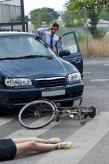 Driver hitting a female biker