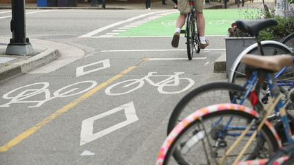 Downtown Vancouver Marked Cycle Path