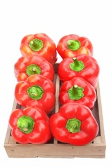 Red Bell Peppers in Wooden Box