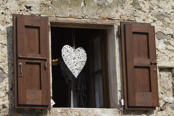 window with heart