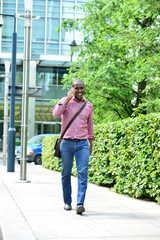 Handsome african man on a phone