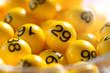 Background of yellow balls with bingo numbers - 69717082
