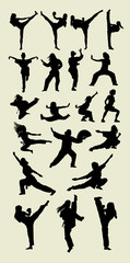 Female Martial Art Silhouettes
