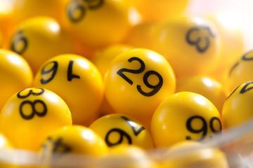 Background of yellow balls with bingo numbers